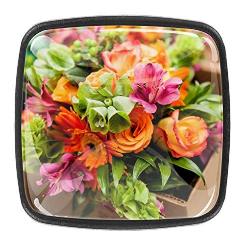 Coloridas flores paquete de 4 manijas cuadradas de cristal GlassDoor manija del cajón, manija del cajón del gabinete, cajón del gabinete,