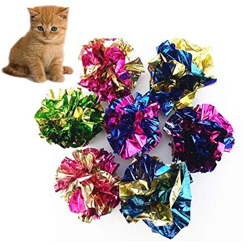 Ototon Katzenspielzeug Crinkle Bälle aus Papier geriffelt für Kätzchen Tier-Spiele zufällige Farbe 10 Stück