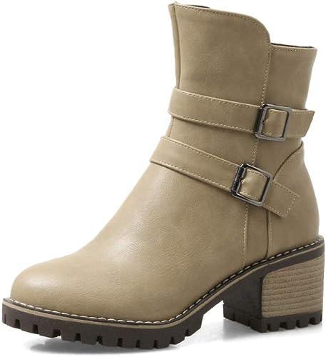 ZHRUI Stiefel para damen - Stiefel para damen de Gama Alta del Oeste Stiefel de tacón Alto Calzado para damen de Gran tamaño 34-43 (Farbe   Buff, tamaño   42)