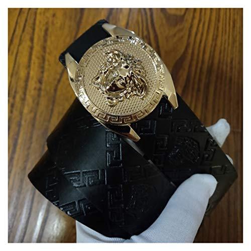 Without logo ZCPCS Cinturón de Hombre Cinturón de diseño de Lujo Cinturón de Cuero Juvenil Smooth Hebilla Cinturón de Hombre Moda Retro Pantalones Casual Cinturón (Belt Length : 115CM, Color : 33)