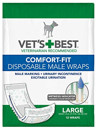 Vet's Best Comfort Fit Disposable Male Dog Diapers   Absorbent Male Wraps with Leak Proof Fit   Large, 12 Count