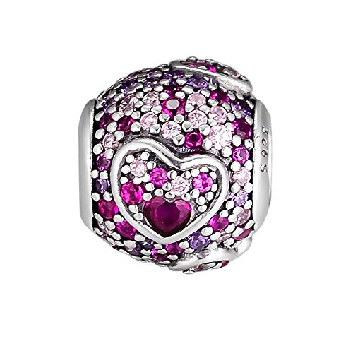 BAKCCI 2019 San Valentín regalo asimétrico corazones de amor rojo rosa real púrpura Bead plata 925 DIY compatible con pulseras originales Pandora