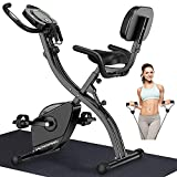 WOWSPEED Fold<span class='highlight'>in</span>g <span class='highlight'>Exercise</span> Bike, Upright and Recumbent Stationary Bike with Adjustable Magnetic Resistance,Pulse Monitor and Arm Resistance Bands for Home Gym