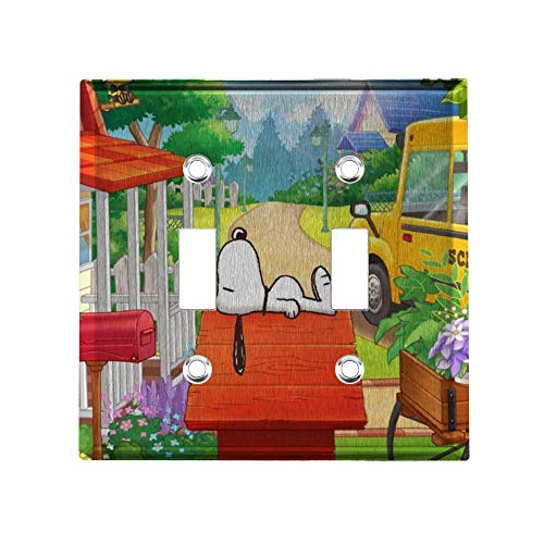 YCLL Pastoral Snoopy Decor Light Switch Plate, Double Toggle Switch Wall Plate Outlet Covers, Standard Size 4.6x4.5 in