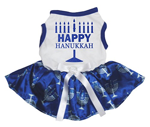 Petitebella Happy Hanukkah White Shirt Blue Candlestick Tutu Puppy Dog Dress (Medium1)