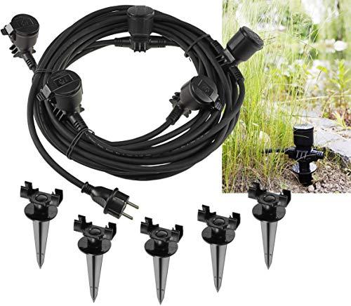 Verlängerungskabel 15m für Aussen IP44 5-fach Garten-Steckdose mit Erdspieß Deckel Aussensteckdose für Lampen, Leuchten I Schwarz