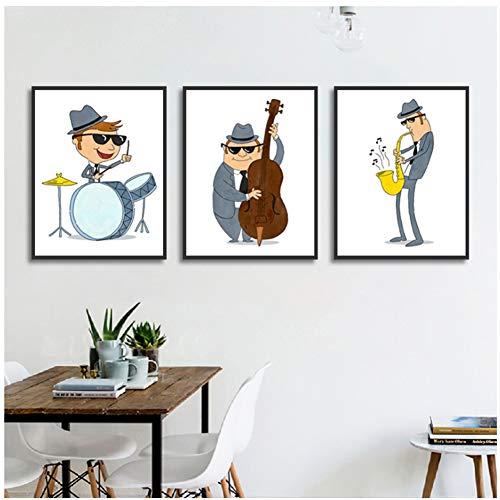 Cartoon leuke affiche veelzijdig liefde muziek man foto's afdrukken canvas schilderij voor room Home Decor-50x70 cm x 3 stuks geen lijst