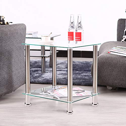 BALLSHOP Square Glass Side Tables 2 Tier Glass Stainless Steel Small Display Stand Side Lamp Coffee Table Transparent