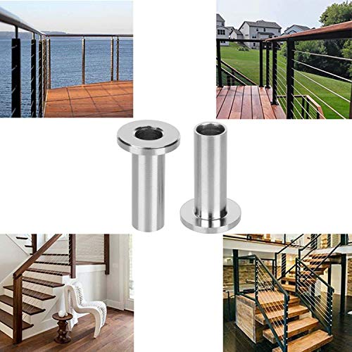 5//32 Patent Design 3//16 Wire Rope Cable Railing CKE 40 Pack 45 Degree T316 Marine Grade Stainless Steel Angle Beveled Protector Sleeves Wood Post Protector for 1//8 Come with a Free Drill Bit