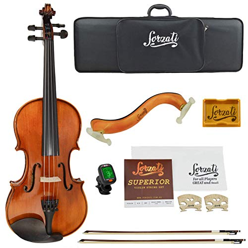 Forzati FZV600 1/2 Half Size Violin Set, Superior Handcrafted Violins, Kids Violin, Hand-Varnished, 2 Bows, String Set, Ebony, Case, Shoulder Rest, for Beginners, Intermediate to Advanced Players