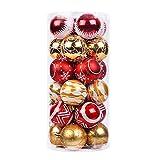 DegGod 24 Pcs 60mm/2.36inches Christmas Balls Ornaments, Shatterproof Shiny Matte Glittering Christmas Tree Hanging Ball Set for Xmas Tree Decorations (Gold+ Red)