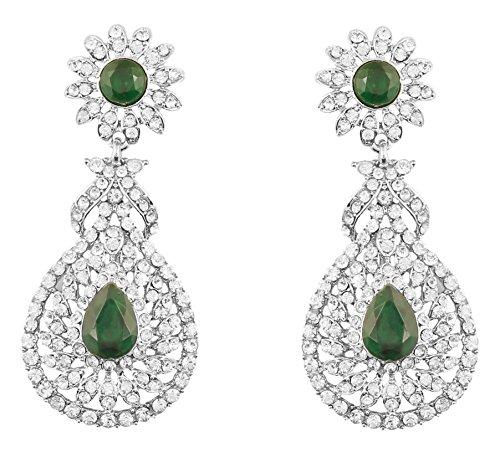 Touchstone Indian Bollywood Rhinestone/faux green emerald bridal jewelry chandelier earrings for women in silver tone