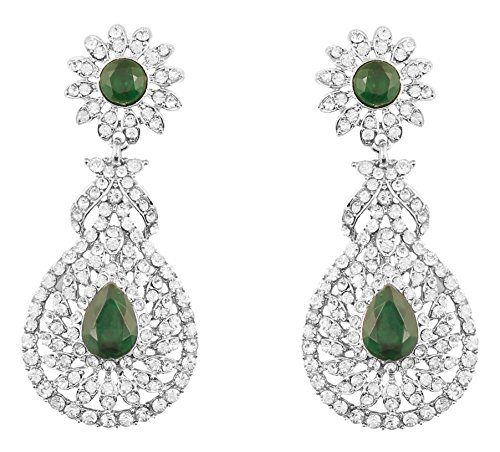 Touchstone Indian Bollywood Rhinestone/faux green emerald bridal jewelry chandelier earrings for women in silver tone