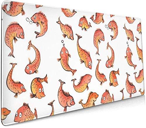 Wild Animal Luipaard Op De Grland Profional Grote Muis Pad Toetsenbord Pad Lange ed Multipurpose Computer Game Muis Mat Eén maat Fish Pattern Simple Yellow