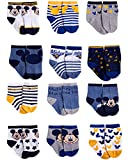 Disney Baby Boys' Socks - 12 Pack Mickey Mouse, Lion King, Toy Story (Newborn/Infant), Size 0-6 Months, Mickey Mouse Navy-Grey