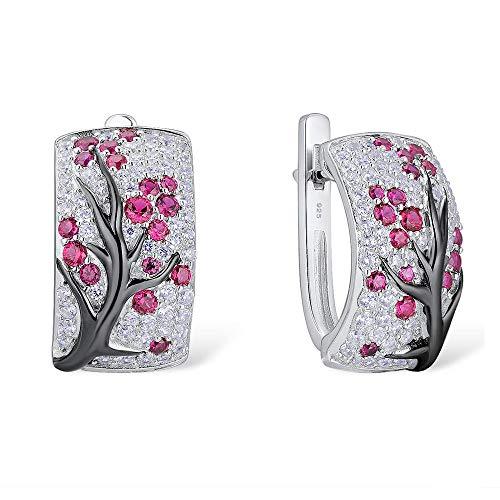 D&XQX Reines 925 Sterling Silber weibliche Ohrringe in Pink und Kirsche Funkelnde Zirkonia Ohrringe Modeschmuck