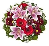 """Dominik Blumen und Pflanzen, Blumenstrauß """"Charlotte"""" mit rosa Lilien, Chrysantheme, Gerbera und Schleierkraut"""