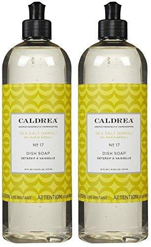 Caldrea Liquid Dish Soap- Sea Salt Neroli,16 Fl Oz (Pack of 2)
