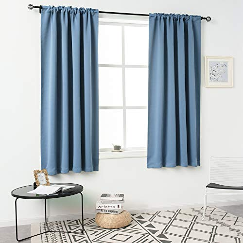 DUALIFE Dusty Blue Curtains for Bedroom Short Windows 54 Inches Long Thermal Insulated Curtains Room Darkening Drapes Soundproof Curtain Panels for Living Room Rod Pocket 2 Panels 54x54 Inch