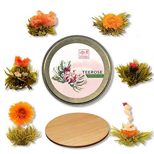 Teeblumen Geschenkset mit 6 Teerosen, Grüner Tee mit diversen Blüten, inkl. Untersetzer aus Bamboo, Originelle Geschenk-Idee zum Valentinstag, Geburtstag oder Muttertag