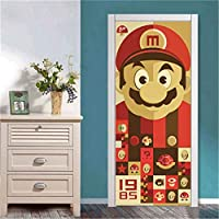 ドアステッカー ドア自己接着壁紙のホームインテリアアートでカスタムサイズのドアステッカーのためにリビングルームのベッドルームPVC防水ステッカー (Color : SD011, Sticker Size : 77x200cm)