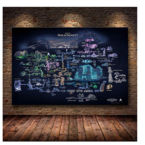 Suuyar Hollow Knight Map The Game Poster Decoration Painting of The on HD Canvas Canvas Painting of Hallownest Poster Wall Art canvas-50x75cm No Frame