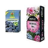 Compo 800G Fertilizante Azulador De Hortensias, Activa El Color Azul, Soluble En Agua, Negro, 800 G + Sustratos - Sustrato Plantas Ácidas 20L - Batlle