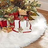 Sopito Gonna Albero di Natale, 36inches Bianco Finto Pelliccia Albero Gonna Ornamenti Doppio Strato di Design per Buon Natale e Capodanno Festa Vacanza Decorazioni per la casa