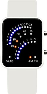 Men's and Women's Led Electronic Watch,30m Waterproof Depth Silicone Strap Calendar Month Led Watch Couple Table Retro Student-B