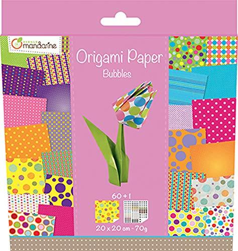 Avenue Mandarine - Cartoncini Decorati per Origami 20 x 20 cm Bolle