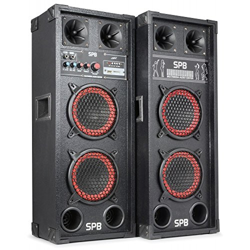 "Fenton SPB-26 - PA Lautsprecher, Aktivboxen Set, 600 Watt max, 2 x 15 cm (6,5\"")-Subwoofer, USB-Port, SD-Slot, 2 x 6,3 mm-Klinke-Mic-In, Cinch-Line-In, schwarz"
