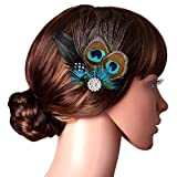 BABEYOND Peacock Feather Hair Clip Peacock Fascinator with Rhinestones Roaring 20s Peacock Flapper Fascinator 1920s Peacock Hair Accessories (Style 1)