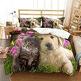 Gato y Perro Funda nórdica 135x200 con 2 Fundas de Almohada Juego de Cama con Cierre de Cremallera Juego de Funda de Patrón de Cachorro de Mascota