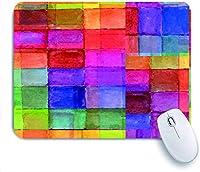 ECOMAOMI 可愛いマウスパッド ぼやけたぼんやりとした効果の水彩デザインで形作られた虹色の幾何学的な正方形 滑り止めゴムバッキングマウスパッドノートブックコンピュータマウスマット