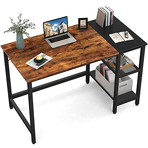 CubiCubi Computer Home Office Desk, 40 Inch Small Desk Study Writing Table with Storage Shelves, Modern Simple PC Desk with Splice Board, Brown/Black