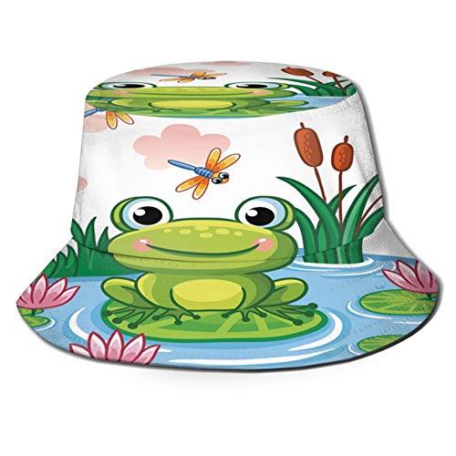Sombrero de pesca,Dibujos animados azul La rana se sienta en la hoja en el estanque Lago para nios Insectos y,Senderismo para hombres y mujeres al aire libre sombrero de cubo sombrero para el sol