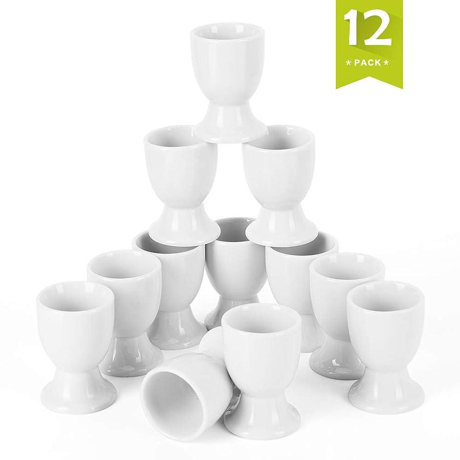 Malacasa REGULAR-001 12 Piece Series Regular Cups, Porcelain China Ceramic, Cream White Egg Stand Plates, Set of 12, Ivory