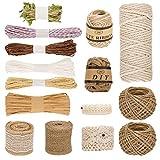 Ulikey 15 Pcs Cuerda de Yute Set, Natural Yute Twine, Bobina de cuerda de Cáñamo, Cuerda de jardinería Bricolaje para Decoración, Jardinería, Decoración de Boda, Regalos (Variedad de Estilos)