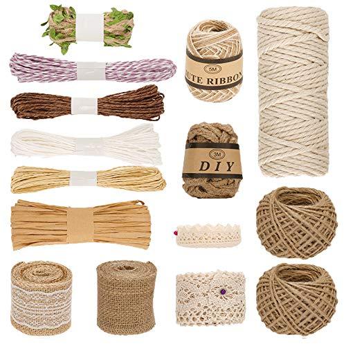 Ulikey 15 Pcs Cuerda de Yute Set, Natural Yute Twine, Bobina de cuerda de Cáñamo, Cuerda de jardinería Bricolaje para Decoración, Jardinería, Decoración de Boda, Regalos (15 Rollos)