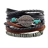 Happyyami 3 Stück Geflochtenes Lederarmband Mehrschichtig Handgewebte Armbänder Wickelarmband Schmuck für Männer Und Frauen