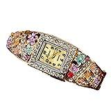 OLUYNG Montre-Bracelet Fleurs Montres pour Les Femmes Perles Macaron en Cuir Filles Creative Horloge À Quartz Dames Bracelet Montre Au Poignet 533