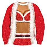 TUONROAD Pull de Noël Pullover Femmes 3D Imprimé Xmas Graphique Pull Santa Manches Longues Sweatshirts Ugly Christmas Sweater Hommes - L