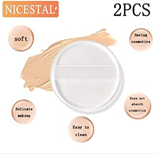 NICESTAL 2 Pcs Makeup Sponge Puff Silicone Round Transparent Makeup Tools with Box Sponge Blender Makeup Puff for New Foundation BB Cream Beauty Essentials Makeup Cosmetic Powder Puff