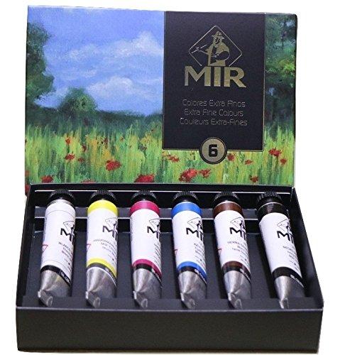 MIR Pack OLEOS Set con 6 Tubos de Pintura al óleo Amapolas. Gama de 6 Colores. Tubos de 20ml.