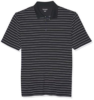 Amazon Essentials Men's Regular-Fit Quick-Dry Golf Polo Shirt, Black Stripe, XX-Large