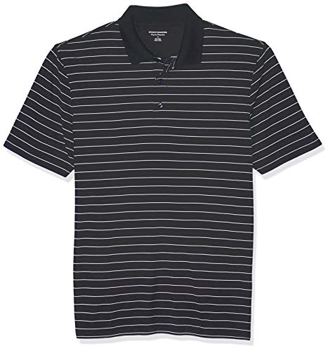 Amazon Essentials Herren Poloshirt Regular-fit Quick-dry Stripe Golf Polo Shirt, Black Stripe, L