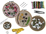 N1 Qroof Hand Embroidery Tutorial DIY Kit(Set of 7)Beginners to Advanced for Kids,Adults,Women with 3 Pattern Design,6 Different Types of Stiches