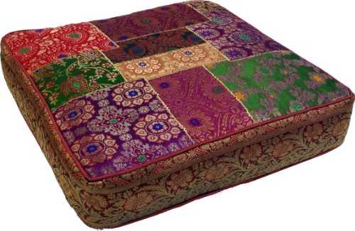 Guru-Shop Orientalisches Eckiges Patchwork Kissen 40 cm, Sitzkissen, Bodenkissen mit Baumwollfüllung - Rot/patchwork, Mehrfarbig, Synthetisch, Zierkissen, Dekokissen, Sofakissen