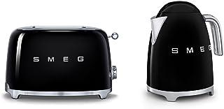 Smeg TSF01BLUK KLF11BLUK | Ensemble grille-pain 2 tranches style rétro années 50 et bouilloire en noir