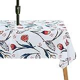 para picnic Manteles Mantel al aire libre, con agujero paraguas impermeable, tela de poliéster a prueba de derrames Patio de patio duradero, mantel de paraguas con cremallera para la decoración de la